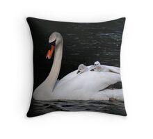 Swan taxi Throw Pillow