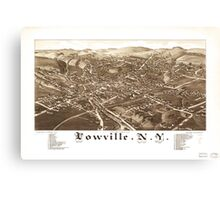 Panoramic Maps Lowville NY Canvas Print