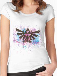 Triforce Emblem Splash Women's Fitted Scoop T-Shirt