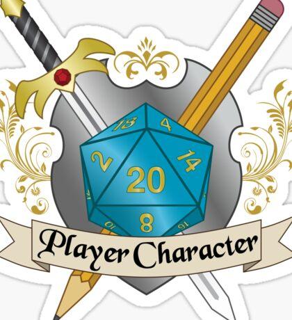 Player Character d20 Crest Sticker Sticker