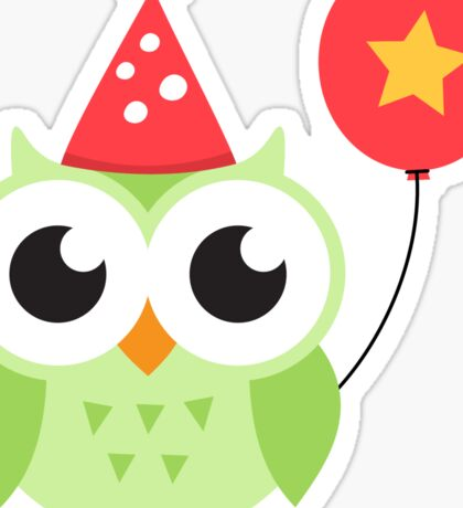 Cute, green party owl with balloon sticker Sticker