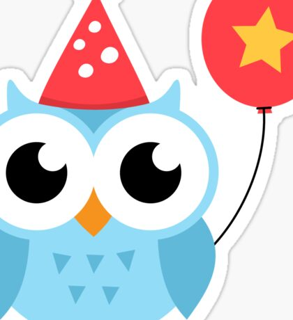 Cute, blue party owl with balloon sticker Sticker