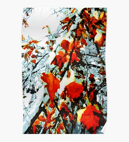 The Autumn Leaves and Winter Snow Poster