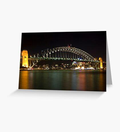 bridge over vivid water Greeting Card