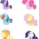 Sleepy Ponies - Mane 6 Set by JimHiro