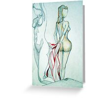 2 NUDES WITH BLANKET Greeting Card