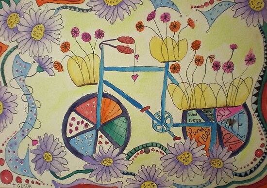 Flowers on bike by Gerda  Smit