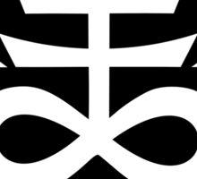Satanic Cross with Hail Satan Inscription Sticker Sticker