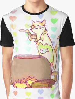 Cat Cooking Graphic T-Shirt