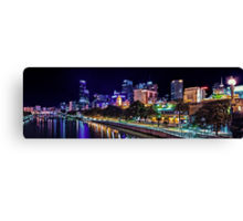 Banks of the Yarra Night Pano Melbourne Australia Canvas Print