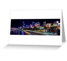 Banks of the Yarra Night Pano Melbourne Australia Greeting Card