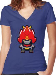 Mekkachibi Voltes V Women's Fitted V-Neck T-Shirt