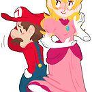 mario & peach by KayJayTwisp