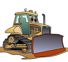 Mini Bulldozer Cartoon by Graphxpro