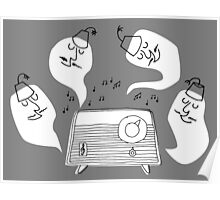 Music Lovers - funny cartoon drawing of ghosts in fez and mustache Poster