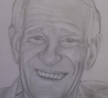 Pencil portrait of an older man by Sue Downey