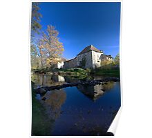 Peaceful French Mill Scene Poster