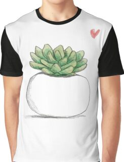 Succulent in Plump White Planter Graphic T-Shirt
