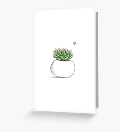 Succulent in Plump White Planter Greeting Card