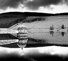 Reflections, Black and White Conversion, Talla Reservoir, Scottish Borders by Iain MacLean