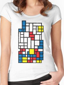COMPOSITION WITH FALLING BLOCKS Women's Fitted Scoop T-Shirt