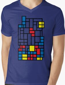 COMPOSITION WITH FALLING BLOCKS Mens V-Neck T-Shirt
