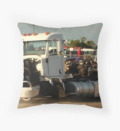 Truck 7946 White Throw Pillow