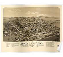 Panoramic Maps Honey Grove Tex Fannin County 1886 Poster