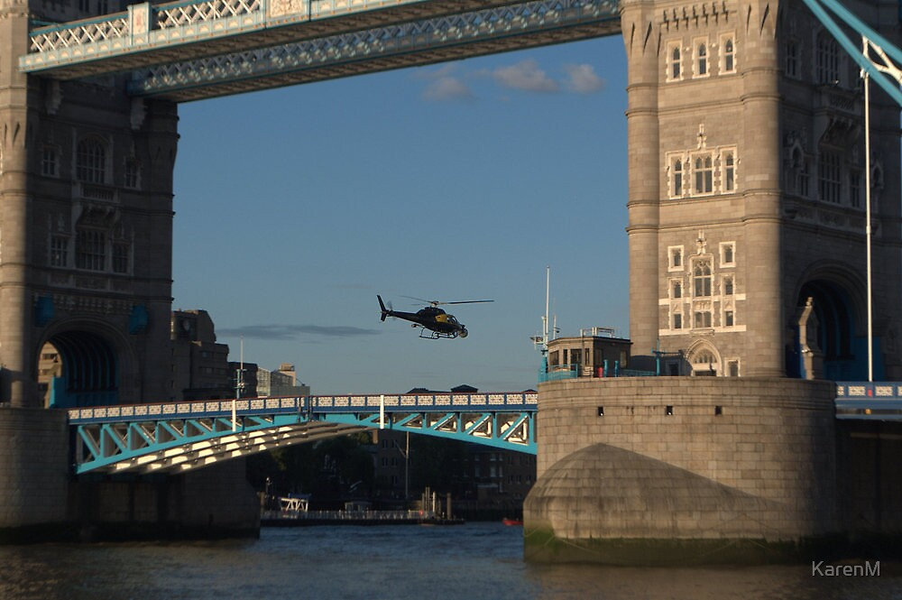 Tower Bridge and Helicoptor by Karen Martin