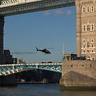 Tower Bridge and Helicoptor by Karen Martin IPA