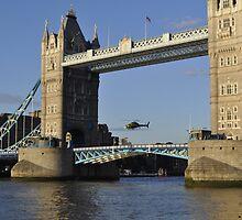 Tower Bridge and Helicoptor II by Karen Martin