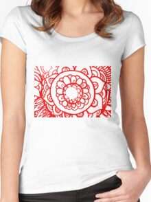 Red floral pattern Women's Fitted Scoop T-Shirt