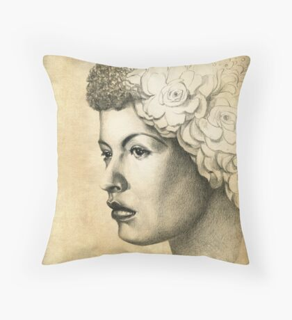 Billie Holiday Throw Pillow