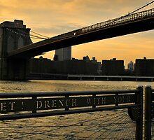 New York City evening skyline with Brooklyn Bridge over Hudson River  by Anton Oparin