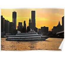A river cruise boat on the East River heading under the Brooklyn Bridge in New York City at sunset time.  Poster