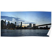 New York City evening skyline with Brooklyn Bridge over Hudson River  Poster
