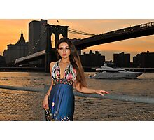 Beautiful girl posing at sunset time under Brooklyn Bridge, NYC Photographic Print