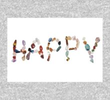 New age crystals and gemstones spelling out Happy One Piece - Short Sleeve