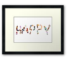 New age crystals and gemstones spelling out Happy Framed Print