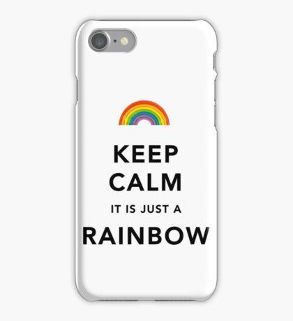 Keep Calm Rainbow on white iPhone Case/Skin