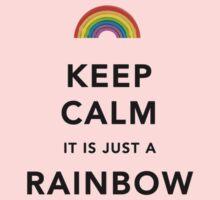 Keep Calm Rainbow on white Kids Tee