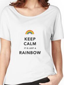 Keep Calm Rainbow on white Women's Relaxed Fit T-Shirt