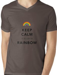 Keep Calm Rainbow on white Mens V-Neck T-Shirt