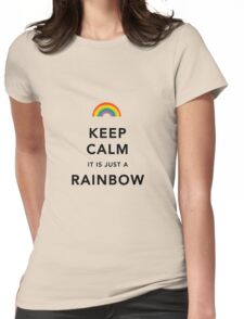 Keep Calm Rainbow on white Womens Fitted T-Shirt