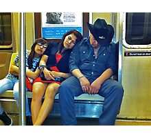 SLEEPING FAMILY ON THE A TRAIN Photographic Print