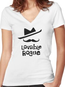 Lovable Rogue - funny vector graphic with mustache and fancy hat Women's Fitted V-Neck T-Shirt