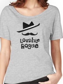 Lovable Rogue - funny vector graphic with mustache and fancy hat Women's Relaxed Fit T-Shirt
