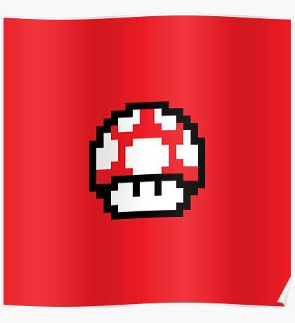 8 Bit Mushroom (Red) Poster