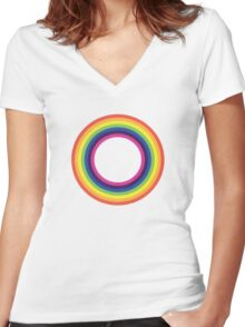 Circle Rainbow Women's Fitted V-Neck T-Shirt