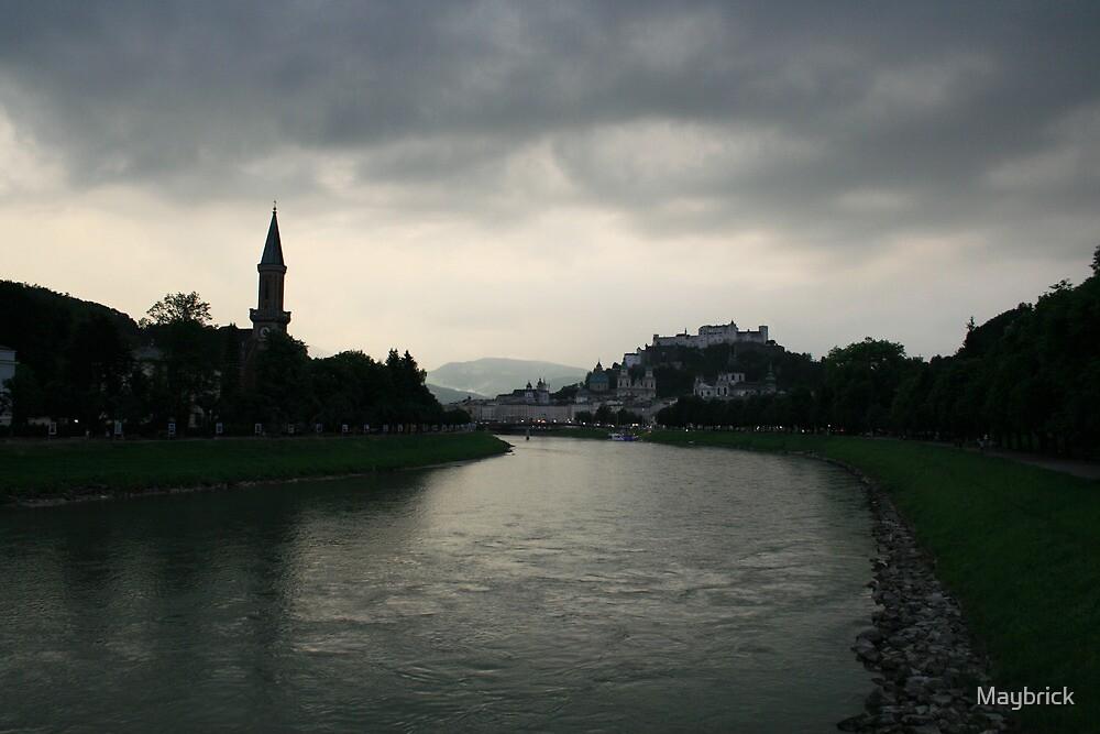 Salzburg, A River View. by Maybrick